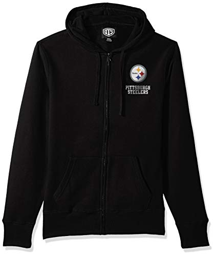 ers Male NFL OTS Fleece Full-Zip Hoodie Distressed, Jet Black, XX-Large ()