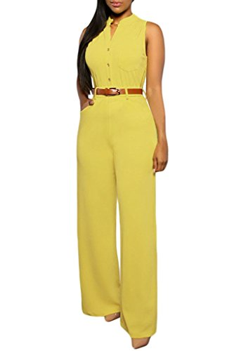 HOTAPEI Women Button Belted Sleeveless Wide Leg Jumpsuit Large Yellow