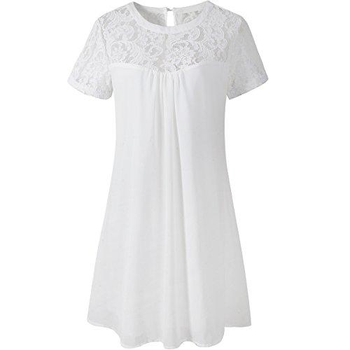 vanberfia Women's Lace Short Sleeve Loose Casual Chiffon Dress (M, 7881)