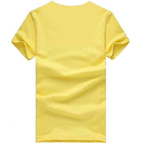 À Manadlian Jaune Sport Été Couple Manches Courtes Blouses Chemise Impression Femme Casual shirt T Homme De Vêtements Tops rEqREp