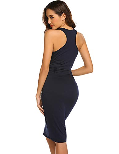 LuckyMore Women's Sleeveless Side Shirred Casual Knee Length Basic Body Con Maternity Tank Sheath Dress Navy Blue S