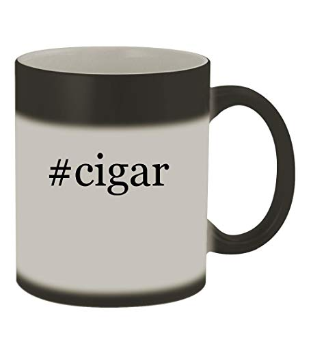 #cigar - 11oz Color Changing Hashtag Sturdy Ceramic Coffee Cup Mug, Matte Black