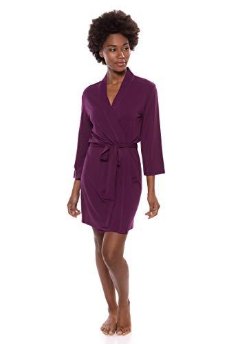 TexereSilk Women's Short Jersey Kimono Robe (Oarla, Concord Grape, S) Best Present for Her