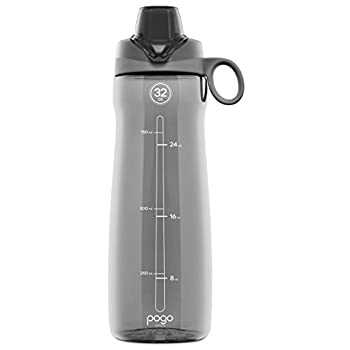 Pogo BPA-Free Tritan Plastic Water Bottle With Chug Lid, 32 Oz, Grey