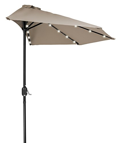 Home & Comfort 9′ Patio LED Half Umbrella LED – Solar Powered (Tan)