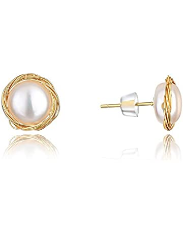 921b8553c abc jewelry Earrings for Women Hypoallergenic 14K Gold Handmade Twisted  Freshwater Pearl Stud Earrings for Mother's