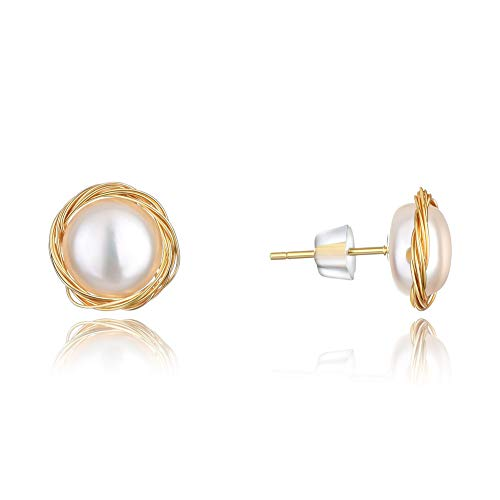 abc jewelry Earrings for Women Hypoallergenic 14K Gold Handmade Twisted Freshwater Pearl Stud Earrings for Mother's Day (Jewelry Abc)