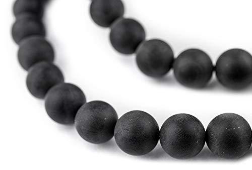 TheBeadChest Matte Round Black Onyx Beads (10mm): Organic Gemstone Round Spherical Energy Stone Healing Power for Jewelry Bracelet Mala Necklace Making