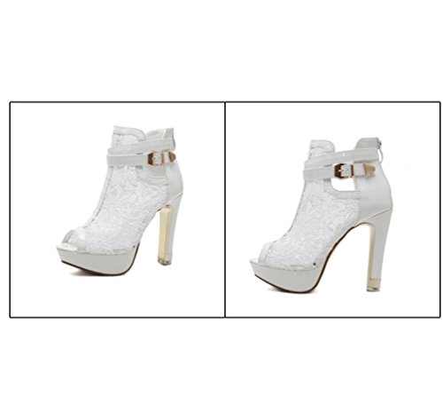 für Hohem Bankett Kurzstiefel für Stiefel in Ferse Absatz Reiner Sandalen Sexy Stiefel Damen Mädchen mit Farbe Cool Weiß Zhzz für Bequeme und LIANGXIE 5wfqXOq