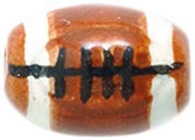 Shipwreck Peruvian Hand Crafted Ceramic Mini Football Beads, 7 by 13mm, Brown, 8 Per Pack -