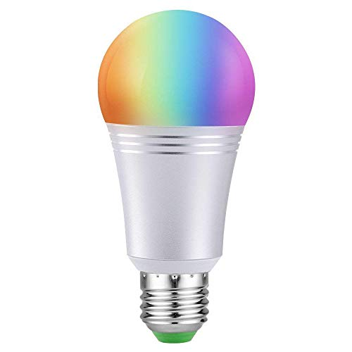 Smart Led Light Bulb, WiFi Smart Bulbs 6000K Dimmable Colored Smartphone Controlled Daylight White Night Light, No Hub Required, Works with Amazon Echo Alexa Google Home E27 A19