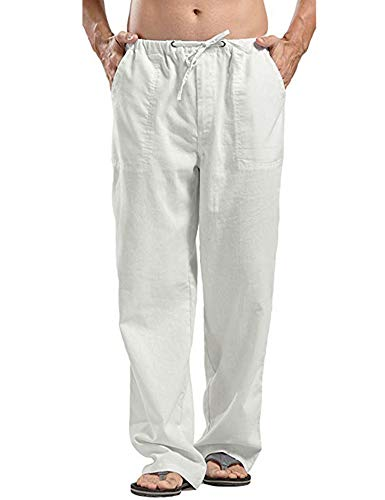 COOFANDY Mens Linen Cotton Loose Casual Lightweight Beach Straight Yoga Pants