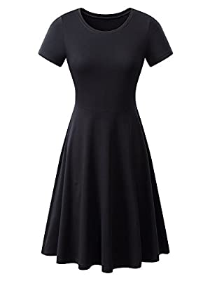 Women Short Sleeve Round Neck Summer Casual Flared Midi Dress