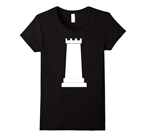 Womens Chess Piece Group Costume Shirt - ROOK (white) Small Black (Halloween Contest For Workplace)