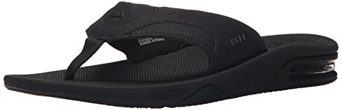 Reef Men's Fanning Flip Flop, ALL ALL BLACK, 12 D - Medium (Mens Rugged Casual Sandal)