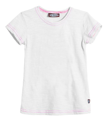 Shirt City Threads (City Threads Girls Solid Short Sleeve Tshirt, White, 2T)