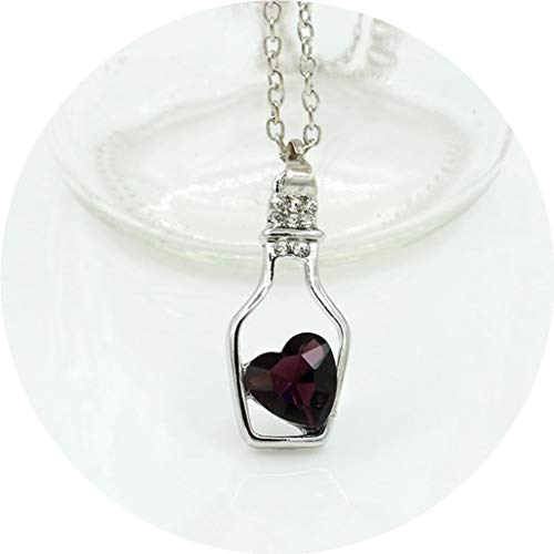 (Silver Color Jewelry Bottle Heart Shape Statement Necklace&Pendants for Women Gift Birthday Christmas)