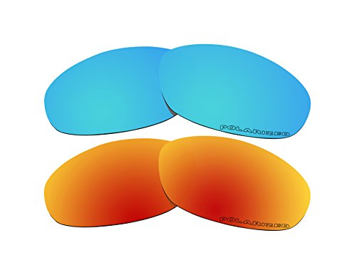 2 Pairs Polarized Lenses Replacement Blue & Fire Red for Oak