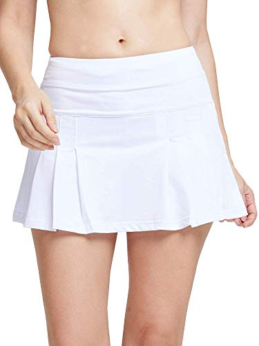 Women's White Tennis Skirt Spike Athletic Mini Skort for Performance Training Tennis Golf & Running White XS