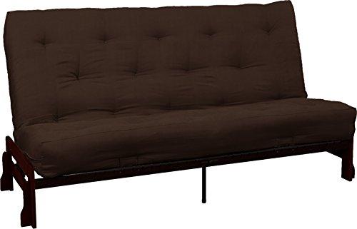 Bali True 8-inch Loft Cotton/Foam Futon Sofa Sleeper Bed, Queen-size, Mahogany Arm Finish, Suede Chocolate Brown (Chocolate Queen Sleeper)