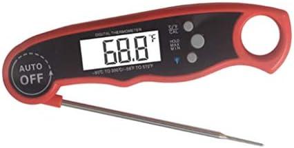 XIGAWAY Termómetro de horno Impermeable Digital de lectura instantánea Termómetro de líquido Sonda plegable Función de calibración Cocina Alimentos Barbacoa Parrilla (rojo)