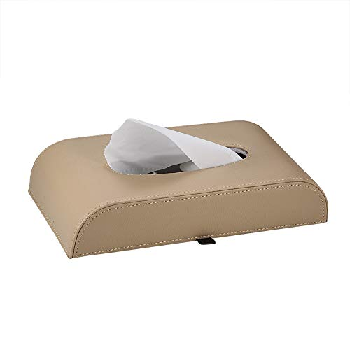 (ATMOMO Beige Car Paper Holder Tissue Box Holder Square Tissue Box Cover Convenience Case (NO Paper Towel))
