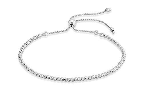 MiaBella 925 Sterling Silver Diamond-Cut Adjustable Bolo Bead Bracelet for Women, Handmade Italian Beaded Ball Chain Bracelet, Choice White or Yellow (Sterling-Silver) ()