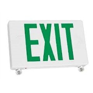 TCP 2 LED Adjustable Exit/Emergency Combo, Green Letters with White Housing