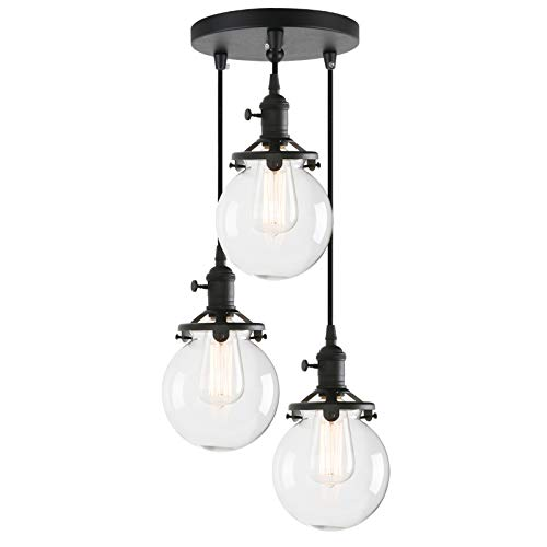 Phansthy Chandelier Light 3 Lights Industrial Pendant Light with 5.9 Inch Clear Glass ()