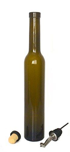 NiceBottles - Olive Oil Dispenser with Stainless Steel Flip Top Pourer, Deluxe, Antique Green, - Green Glasses Antique