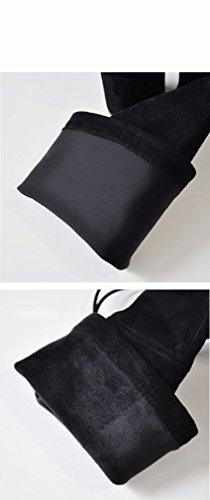 Mujer de Cordones Alto ZH Botas Negro Terciopelo de Grueso Western Sw Más Tacón Invierno Rodilla de de con Zapatos Puntiagudos con wgwrSaq5HE