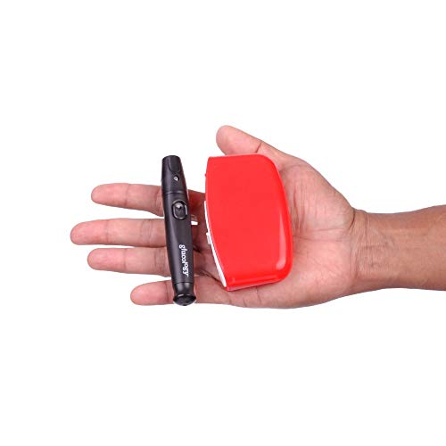 Red Glucology™ Travel Sharps Disposal Container | Specially Designed for Diabetic Needles and Test Strips | Compact Size…