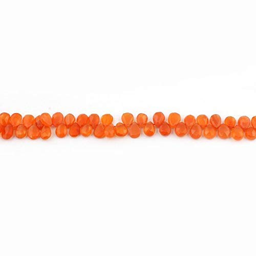 1 Strand Natural Carnelian Faceted Briolettes - Cornelian Pear Drop Shape Beads 6mmx5mm-9mmx6mm 9.5 Inches by ()