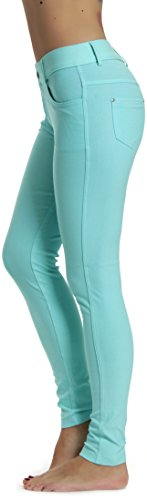 Prolific Health Women's Jean Look Jeggings Tights Yoga Many Colors Spandex Leggings Pants S-XXL (Large, - Leather Pleats Belt