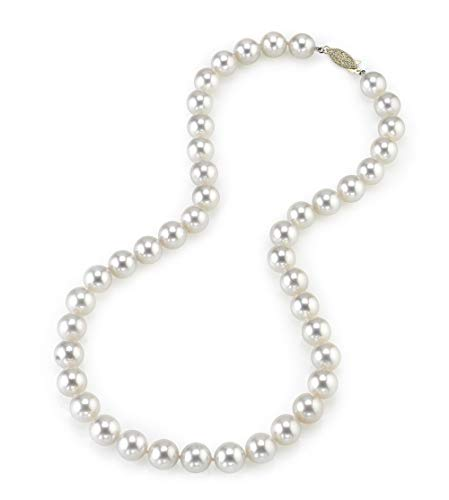 THE PEARL SOURCE 14K Gold 9.5-10.0mm Hanadama Quality Round White Japanese Akoya Saltwater Cultured Pearl Necklace in 17