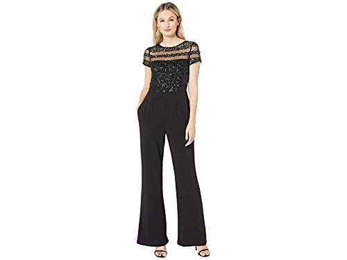 Adrianna Papell Women's Short Sleeve Jumpsuit with Illusion Sequin Bodice, Black, 16
