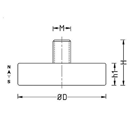 GUMMIERTES MAGNETSYSTEM 22x6 mm MIT AUßENGEWINDE M4 MAGNET MIT KUNSTOFFMANTEL