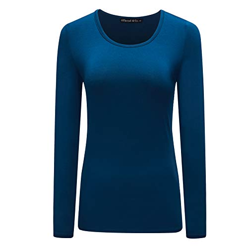 8ef8e0bd OThread & Co. Women's Long Sleeve T-Shirt Scoop Neck Basic Layer Spandex  Shirts