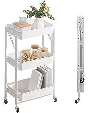 Luchs - Wózek do serwowania, wózek kuchenny, regał łazienkowy, organizer, regał na kółkach, regał kuchenny, składany, uniwersalny wózek do kuchni, łazienki, łazienki i biura z 3 poziomami (biały)