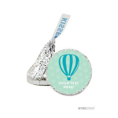 Andaz Press Personalized Chocolate Drop Labels Stickers Single, Baby Shower, Neutral Hot Air Balloon, 216-Pack, For Hershey's Kisses Party Favors, Gifts, Decorations, Custom Name, Birthday (Personalized Hot Chocolate)