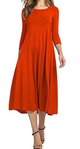 3 Colore Manicotto Arancione 4 Solido Di Puro Partito Donne Comodi Vestito Sera Girocollo Da wn8xRH7Tq