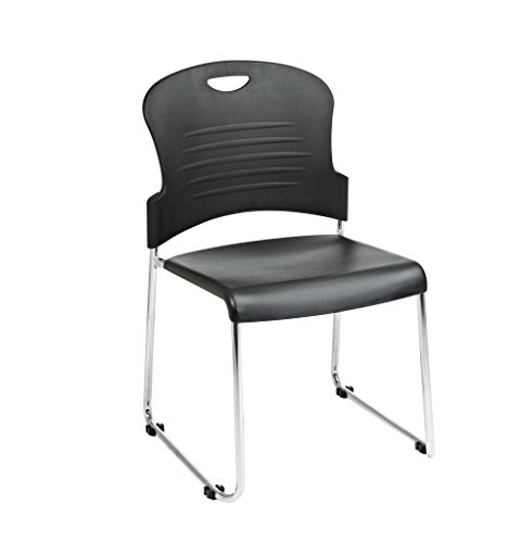 Office Star Stack Chair with Sled Base with Plastic Seat and Back, Black, (Finished Sled Base)
