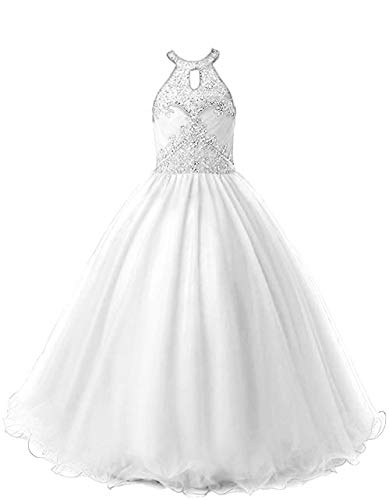 HEIMO Long Beading Ball Gown Formal Party Dress Flower Girl Halter Sequins Pageant Dresses H193 10 White ()