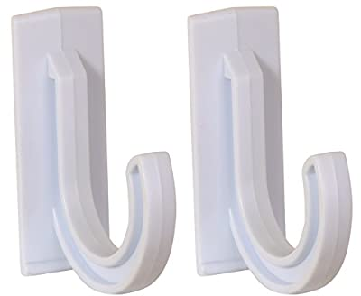 "Set of 2 Multi-use White Plastic Self-adhesive Hooks Each Hook Holds up to 4.5 Pounds and Measures Approximately 3"" X 2.5"