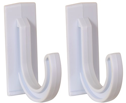 Set of 2 Multi-use White Plastic Self-adhesive Hooks Each Hook Holds up to 4.5 Pounds and Measures Approximately 3