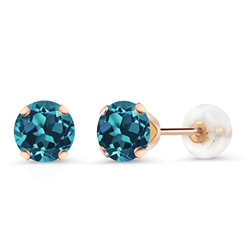 Gem Stone King 10K Rose Gold London Blue Topaz Stud Earrings 1.00 Ct Round Gemstone Birthstone 5MM (Rose Gold London Blue Topaz)
