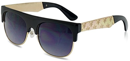 SunglassUP Super Flat Top Metal Engraved Marijuana Arm Classic Mary Jane Weed Leaf Sunglasses (Black | - Wiz Gold Sunglasses Khalifa