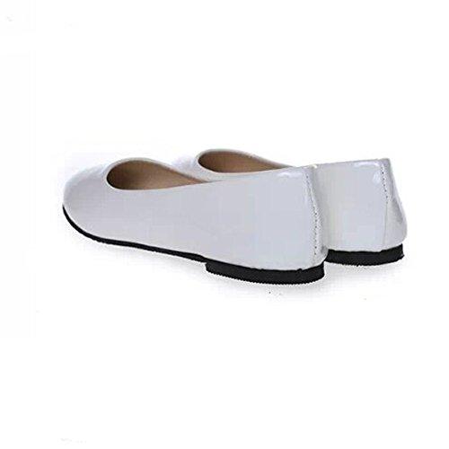 Angelliu Damesschoen Lakleder Loafers Flats Lui Schoenen Wit