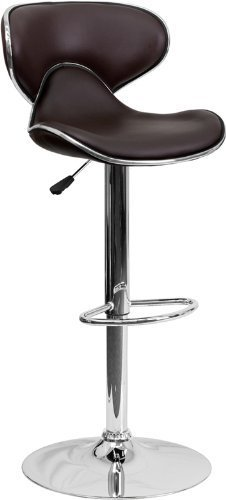 Flash Furniture Contemporary Curved Seat Adjustable Bar Stool with Chrome Base by Flash Furniture