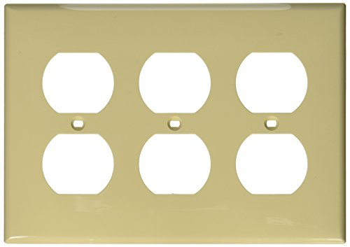 Leviton 80730-I 3-Gang Duplex Device Receptacle Wallplate, Thermoplastic Nylon, Device Mount, ()